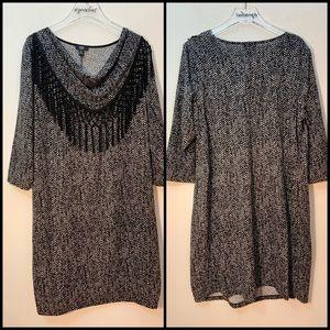 MSK Women Black Sheath Dress Fringe Detail Size 2X